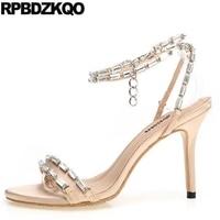 Satin Shoes Diamond High Heels Chain Crystal Slingback Ankle Strap Designer Sandals Women Luxury 2018 Stiletto Wedding Pumps