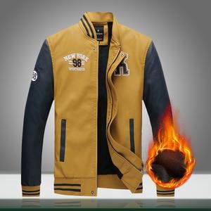 Image 1 - Männer Bomber Jacke Fleece 2020 Neue Casual Brief PU Baseball Jacken Männlichen Herbst Winter Warm Dicken Fit Oberbekleidung Militär Mantel