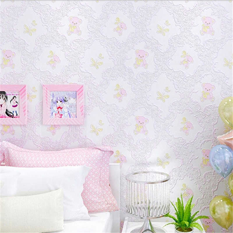 Beibehang Pink Wallpaper For Kids Textured Feature White Wall Paper Roll For Child Bedroom Girls Bedroom Papel De Parede Tapete