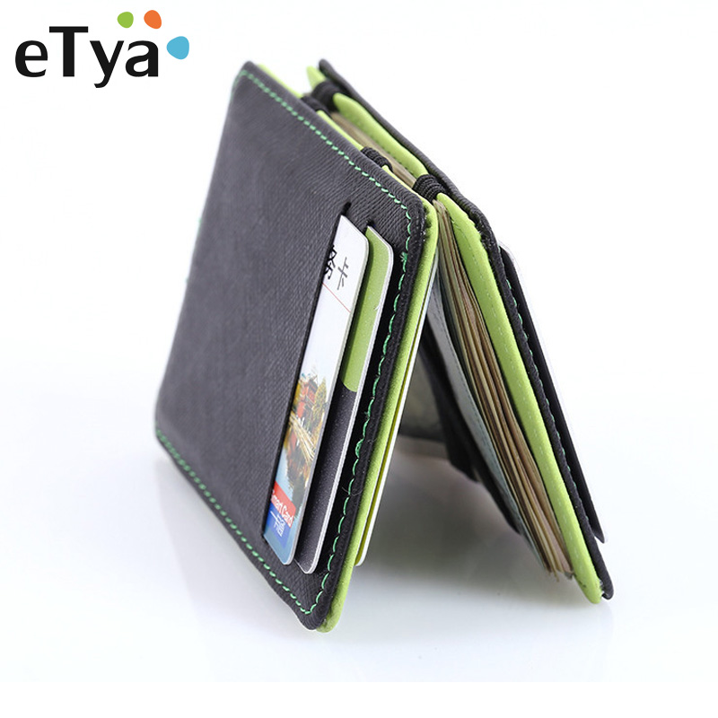цена eTya PU Leather Men Wallet Brand High Quality Wallets with Money bag Gift for Men Card Holder Case Purses Fashion Male Purse