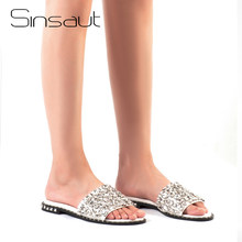 Sinsaut Summer Shoes Crystal Slides Shoes Women Flip Flops Flat With Casual Shoes Transparent diamond rhinestone slippers(China)