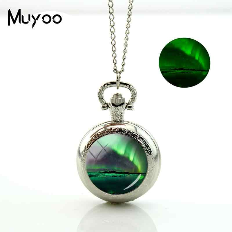 2017 New Green Aurora Borealis Pocket Watch Vintage Long Chain Glowing  Pocket Watch Necklace Glass Silver 5ab5ca1202e3