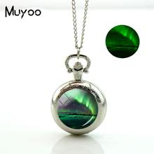 2017 New Green Aurora Borealis Pocket Watch Vintage Long Chain Glowing Pocket Watch Necklace Glass Round Jewelry