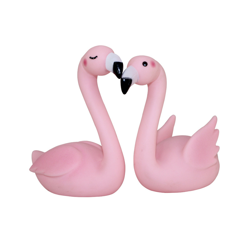 2 Pieces Cute Pink Flamingo Rattle Bath Toys Ornament Baby Water Toys Phoeniconaias A Bit Of Like As Swan Goose Decoration