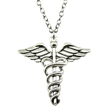 Buy caduceus pendant and get free shipping on aliexpress wysiwyg antique silver color 4040mm caduceus medical cane mozeypictures Image collections