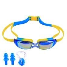 4d3551ba21 Protección UV niños impermeables gafas de natación Anti-niebla lente Marco  de silicona gafas de natación infantil piscina acceso.