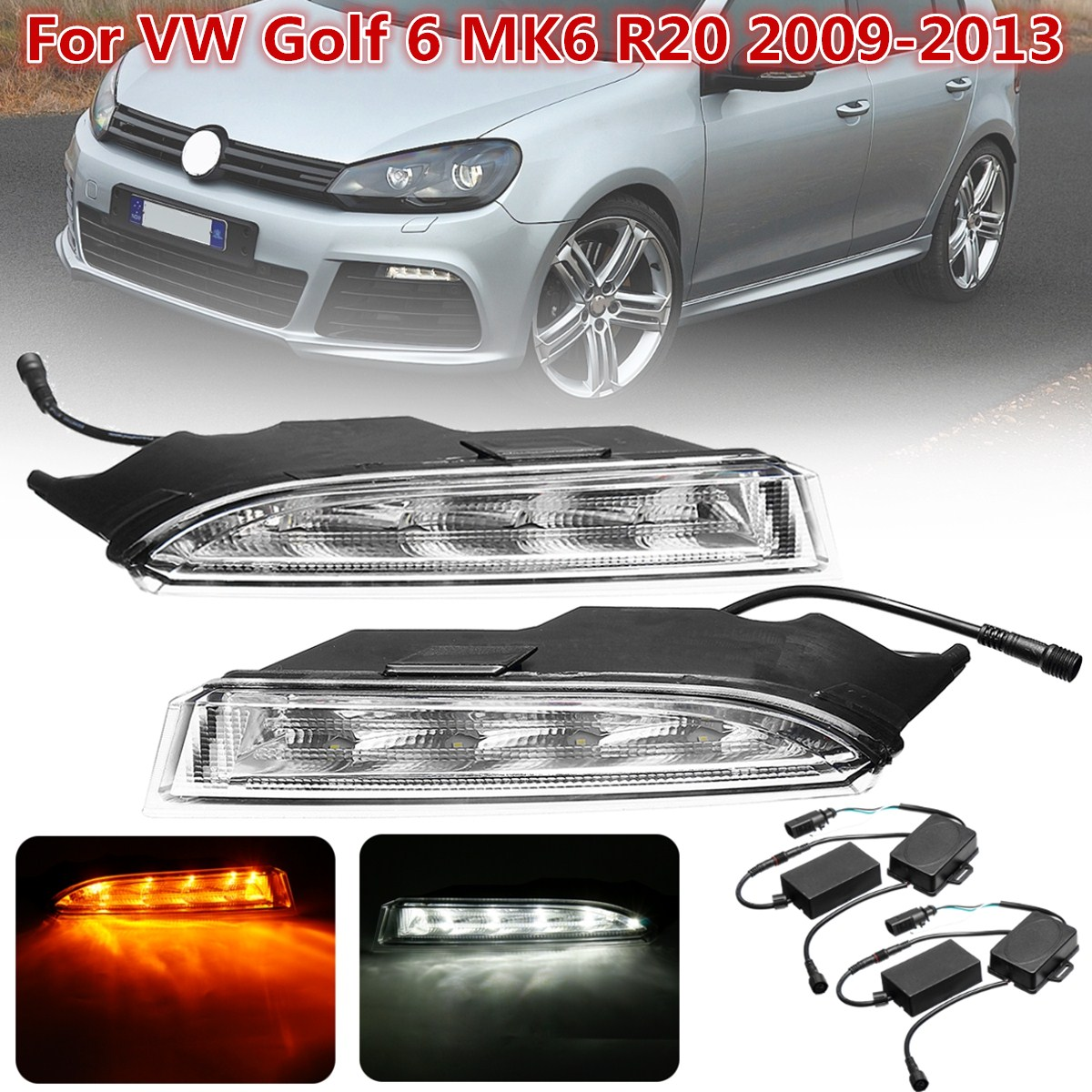 1 Pair Led Car-Styling Day Daytime Running Light Fog Light Lamp bumper lamp LED DRL For VW Golf 6 MK6 R20 2009 2010 2011~2013 1 set daytime running light drl led fog lamp fit for2010 2011 2012 bmw e90 lci 3 series 328 335 car styling led day light