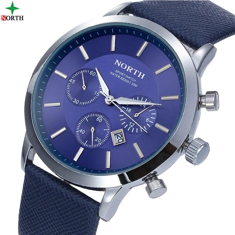 NORTH Brand Fashion thin Mens Watches Leather Male Stainless Steel Men Quartz-Watch Waterproof Business Wrist Watch Clock 2017