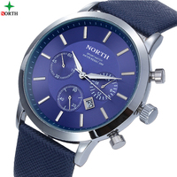 NORTH Brand Fashion Thin Mens Watches Leather Male Stainless Steel Men Quartz Watch Waterproof Business Wrist