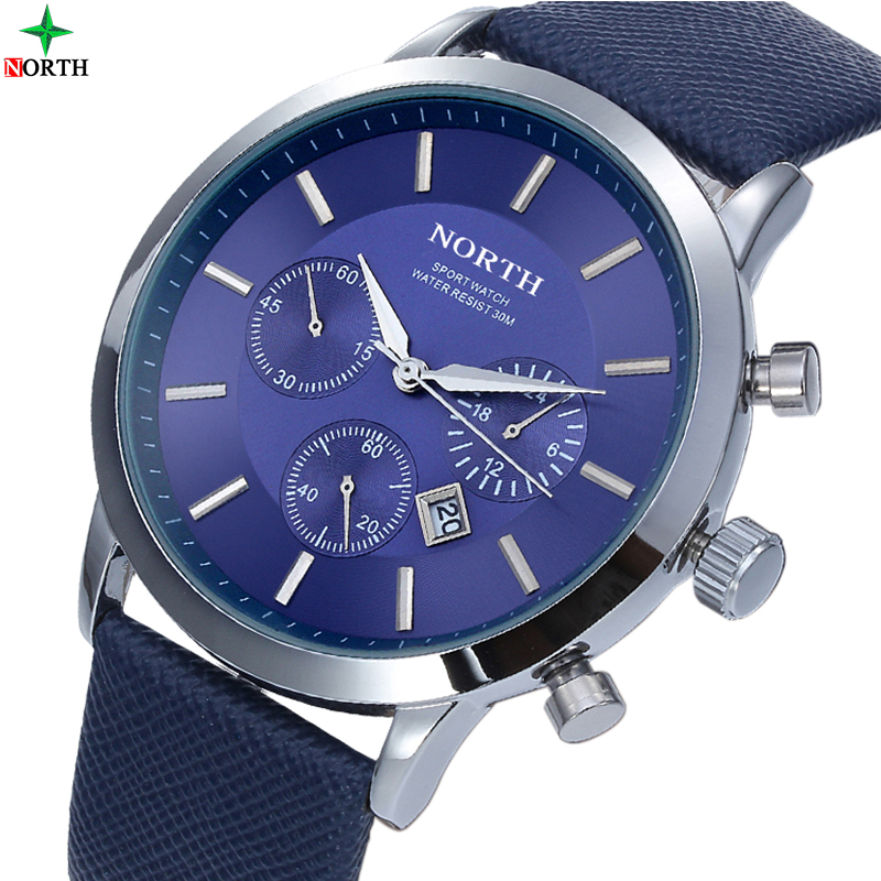 NORTH Brand Fashion thin Mens Watches Leather Male Stainless Steel Men Quartz-Watch Waterproof Business Wrist Watch Clock 2017