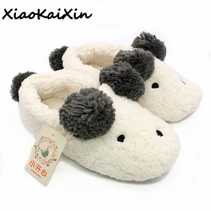 New Winter Animal Shape Mujer Shoes Slippers Women Home Cute Short Plush Warm Sheep Pregnant Women Floor Slip Beige Slippers HOT kesper 29 23 9 5