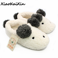 New Winter Animal Shape Mujer Shoes Slippers Women Home Cute Short Plush Warm Sheep Pregnant Women