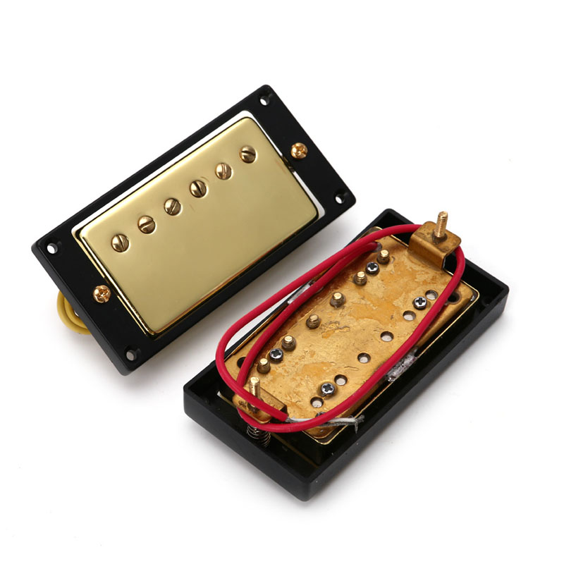 2Pcs Humbucker Double Coil Bridge Neck Pickups Gold For Guitar electric guitar pickup humbucker for 6 string 6 pieces double coil pickups set neck bridge pickup humbucker double coil