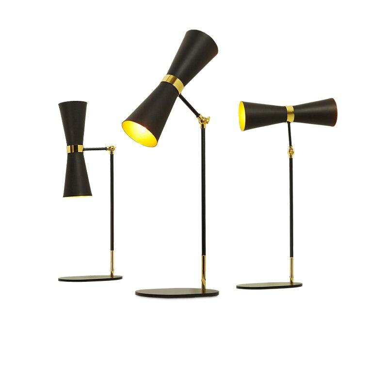 Гибкая светодио дный настольная лампа 2 * E14 регулируемая настольная лампа Гостиная исследование офис ночники книга для чтения света домашн