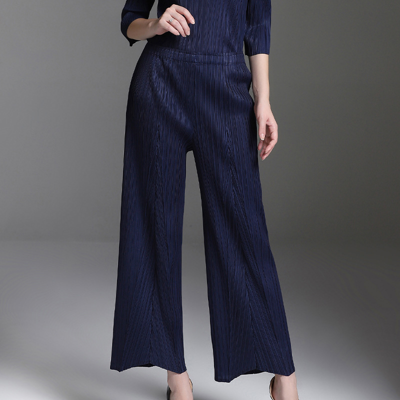 LANMREM 2019 New Fashion Spring spring Pleated Clothing Casual Elastic Waist Trousers Female s Wide Leg