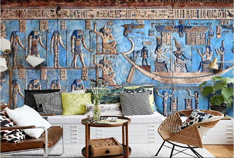 Ancient egyptian celebration color relief classical large for Egyptian wallpaper mural