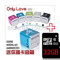 TD V26 Mini MP3 Player + 32GB TF Card USB Disk Micro SD Card FM Radio Line In / Out Sound Box Digital Portable Speaker
