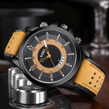 SOKI Men Watch Luxury Fashion Silica Gel Leather Quartz Analog