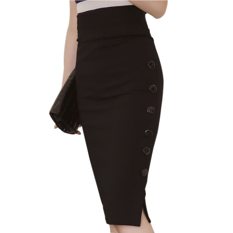 2018 Sexy Women Plain Bodycon Pencil Skirt High Waisted Ladies Stretch OL Skirts Womens Plus Size S-5xl Faldas Mujer Saia Midi