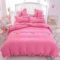 Embroidery Bedding Set Luxury Flower Dragonfly Comforter Cover Pillow Case Flat Bedclothes Young Girl Bed Linen Bedroom Kits