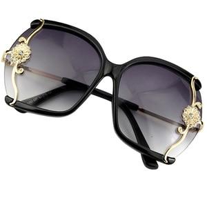 Image 2 - יוקרה חדש לגמרי נשים משקפי שמש עם תחרה עדינה ריינסטון קישוט חצי ללא מסגרת משקפי שמש נשים