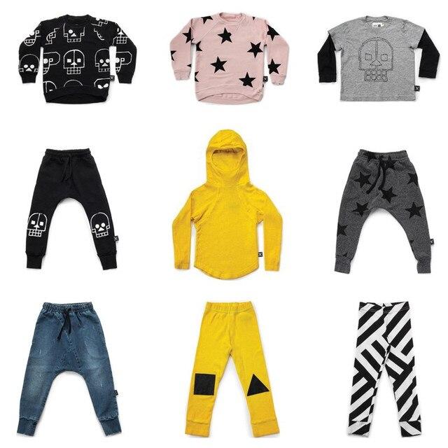 9cd303fd8 NUNUNU Children Clothing Set Baby Boy Ninja Tshirt Skull Robot Sweatshirt  Girls Star Baggy Pants Kids Striped Geometric Leggings