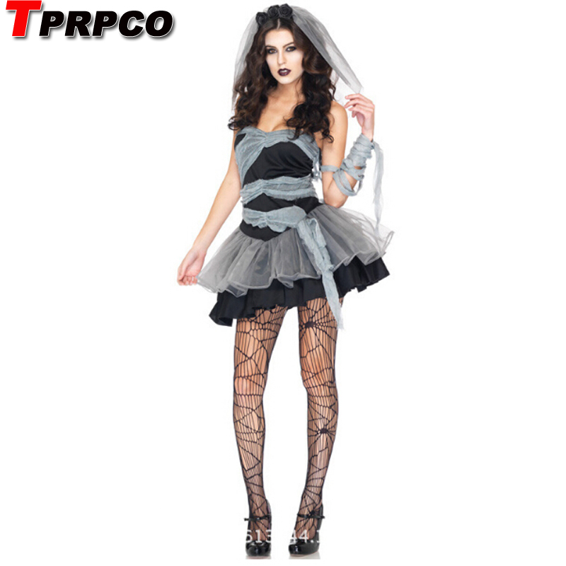 TPRPCO Scary Black Devil Bride Tube Layered Dress Sexy Adult Cosplay Exotic Apparel Halloween Costume for Women NL122