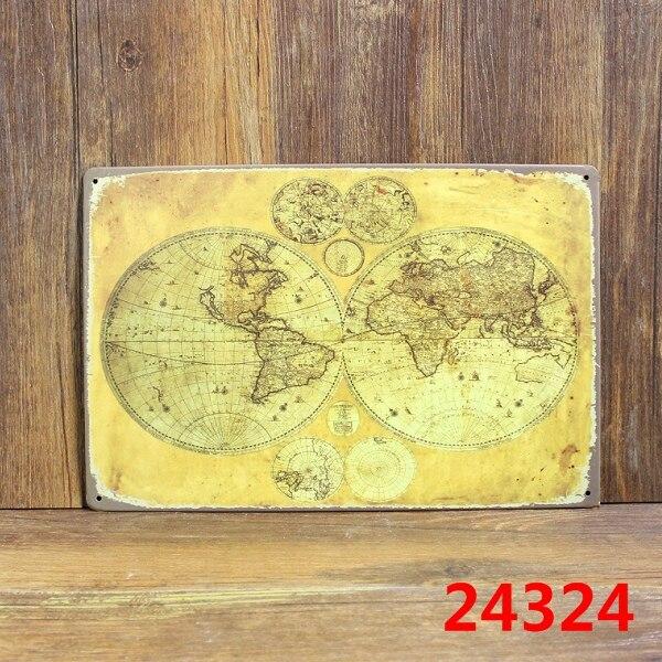 ୧ʕ ʔ୨Vintage plaques World Map Metal painting Retro decor Tin