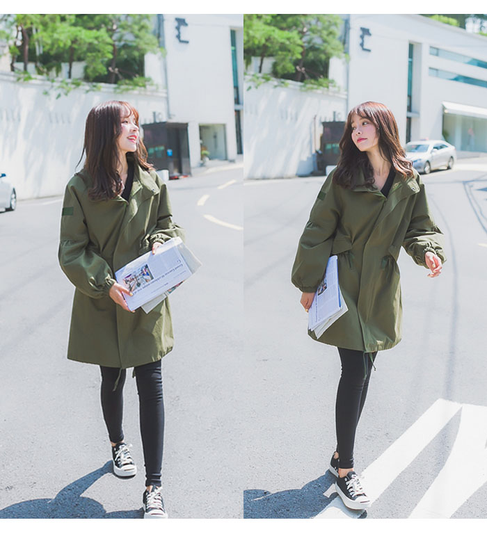 Manteaux Manches Red Army Cardigan Femmes A836 Trench Casual Stand 2018 Taille Longues Green Manteau Tranchée Poche Automne Réglable hawthorn Femme OAfwFF