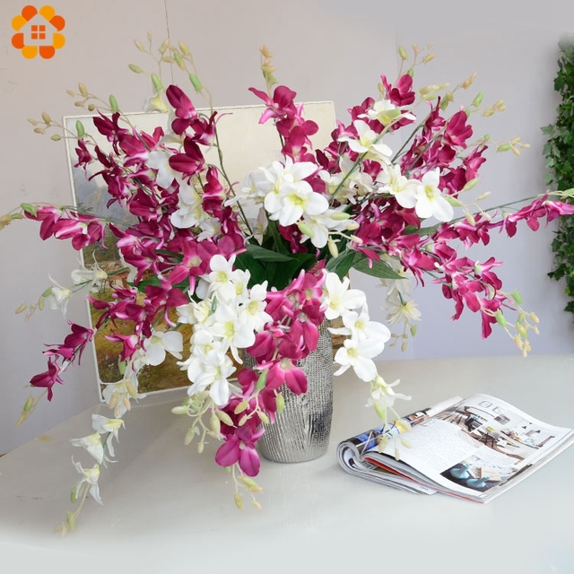 1pc artificial orchid flowers branch high quality silk flower for 1pc artificial orchid flowers branch high quality silk flower for home wedding garden decoration dining table mightylinksfo Gallery