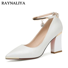 Women Pumps New Fashion Pointed Toe High Heels 2018 Square Heel Shoes Ladies Office Wedding Party Office Pumps Shoes YG-A0143 2019 fashion design women high heels ivory pearl wedding party shoes 3 inches heel bride shoes pointed toe ceremony event pumps