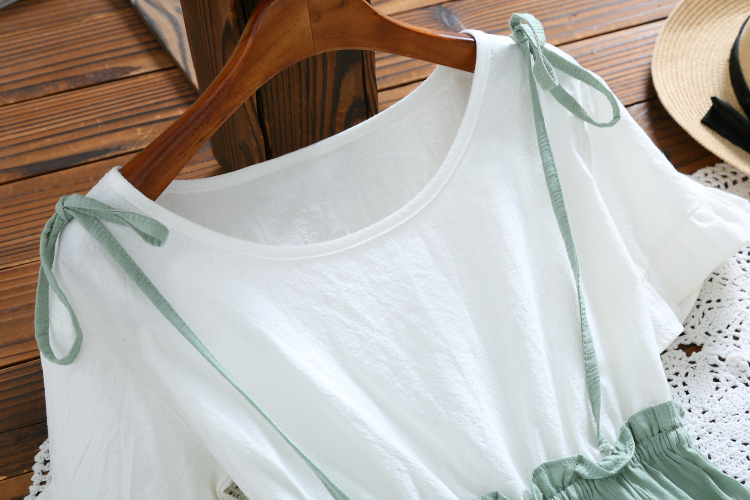 Mori Girl Summer Dress 2018 New Fashion Women Short Sleeve Cotton Dresses False Two-Piece Short Sleeved Green Vestidos S-XL