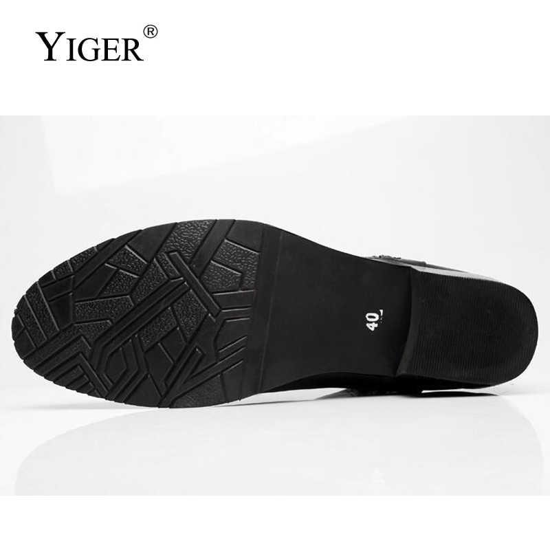 YIGER NIEUWE 2018 Man Martins Laarzen Winter Echt Leer met bont Zwarte Mannen Laarzen Wees Teen Motorlaarzen warme schoenen 0152