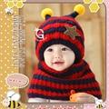2PCS Unisex Hats Winter Autumn Infant Caps Cotton Cartoon Beanies Warm Boy Girl Cap Set Infant Scarf Suits Star Baby Accessories