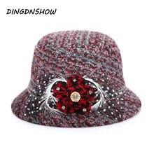 [DINGDNSHOW] модная шляпа Федора, Цветочная шерсть, зимняя шапка для взрослых, женская вязаная шляпа Боулер Дерби широкополые шляпы для женщин