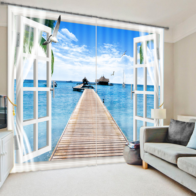 Lively Beach Vacation Bridage Scenery Through The 118 Inch Panel Blind For Room Divider