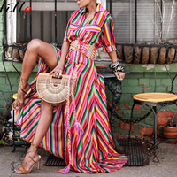 African women's dress Rainbow Striped Button Dress Fashion Printed Maxi Dress Loose Casual Color Striped Shirt Strap Long dress
