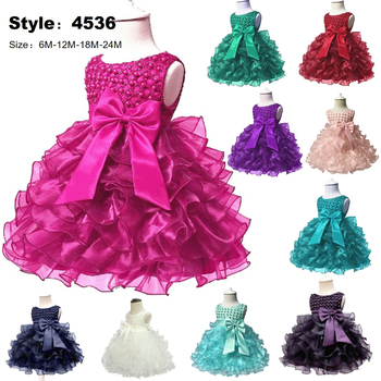 Free Shipping 0-2 years Infant Dresses 2019 New Arrival Fuchsia Baby Dress For 1 Year Girl Birthday TUTU Christening Gowns Solid