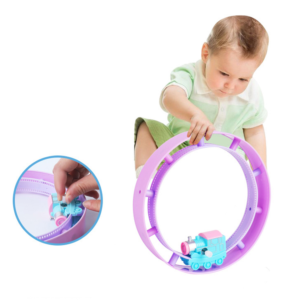 Kids Toy Cars Track Rolling Cartoon Toys Vehicles Circle Train Toy On The Chain Clockwork Toy Gift For Kids Random Color