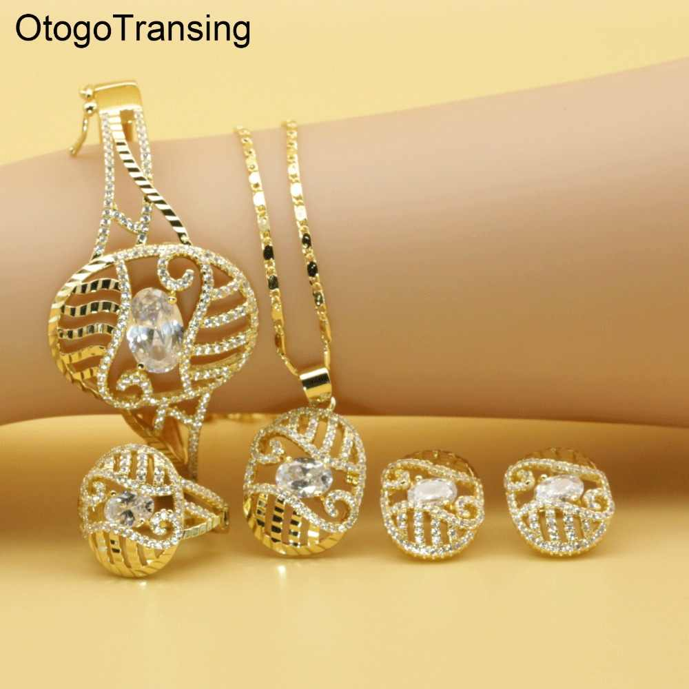 Otogo Transing 2019 Party Jewelry Set Gold Color Women Fashion Charm White Crystal Ring Earrings Necklace Bracelet Flower SET213