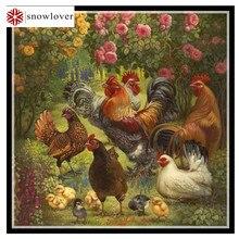 Handarbeiten, stickerei, diy dmc kreuzstich, gruppe von hühner muster 14ct weiß leinwand gezählt kreuz-stitching wohnkultur handwerk