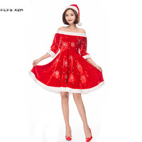 Snowflake Bead pattern Red Women Halloween Santa Claus Costumes Female Christmas Party Cosplays Carnival Purim Masquerade dress