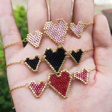 FAIRYWOO Sweet Heart Miyuki Bracelet Luxury Jewelry Stainless Steel Chain Bracelets Delica Statement Charm Cute Gift