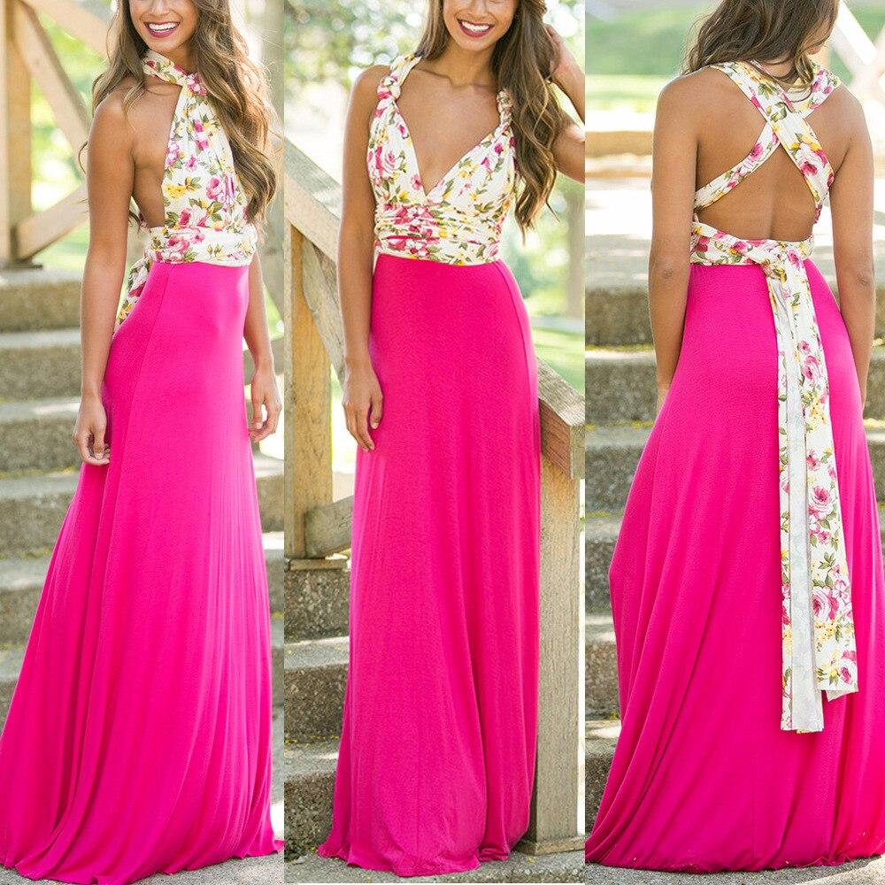 Boutique robe sexy boho dress Maxi tunic Flirty Multi Way Wrap Infinity dress print evening long party Convertible dresses