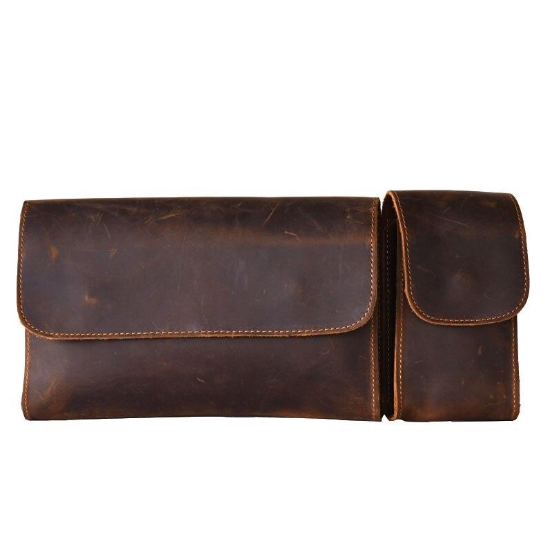 Sacs de poitrine pour hommes rétro fait à la main en cuir de cheval fou sac de poitrine en cuir à deux sections pour hommes grandes poches sacs à bandoulière messenger