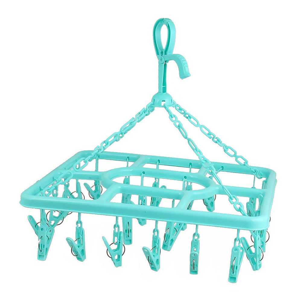 HOT GCZW-Plastic Frame 24 Pegs Clothes Socks Drying Rack Clips Hanger Green