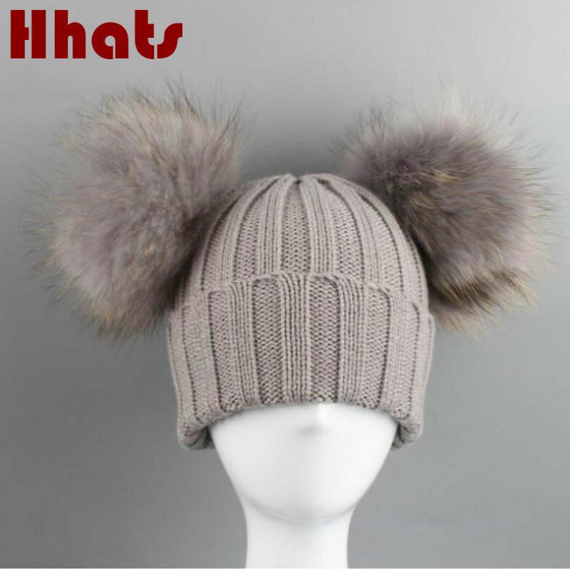 Which In Shower Double Real Dyeing Raccoon Fur Pompom Knitted Bobble Winter Hat Family Colorful Double Pom Pom Fur Hat Bonnet