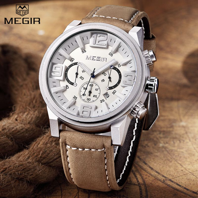 MEGIR Mens Watches Top Brand Luxury Sport Military Quartz Watch men Big Dial Chronograph Leather Men's Wrist Watches Clock Man цена