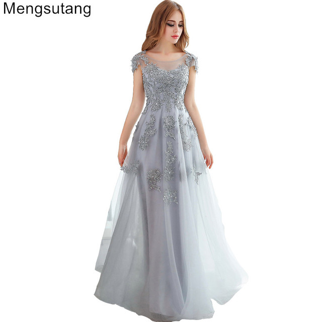 Robe de soiree 2018 gery/red V-Neck lace slim long banquet evening dress vestido de noche gowns prom dresses party dresses