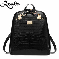 LOVAKIA Brand Women Backpack High Quality Split Leather Knapsack Female Crocodile Prints Large Multifunctional Backpack